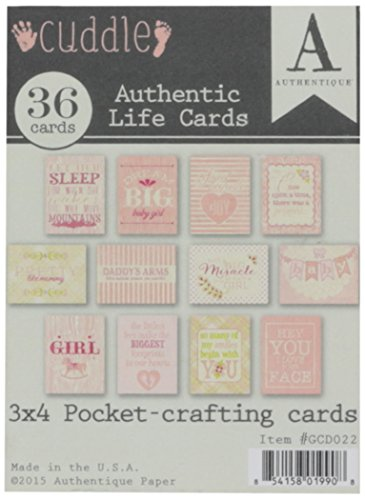 Authentique Paper GCD022 Cuddle Girl Authentic Life Pocket Crafting & Journaling Cards, 3'' x 4'', Pink by Authentique Paper (Image #1)
