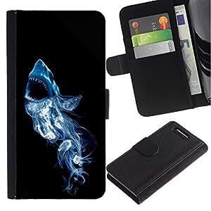 Be Good Phone Accessory // Caso del tirón Billetera de Cuero Titular de la tarjeta Carcasa Funda de Protección para Sony Xperia Z1 Compact D5503 // Smoke White Shark
