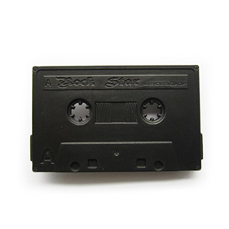 eeddoo® Gürtelschnalle - Musikkassette schwarz - Rock Star - Buckle (Buckle für Wechselgürtel für Damen und Herren Belt Frauen Männer Oldschool Rockabilly Metall Gothic Wave Rock Biker Western Trucker