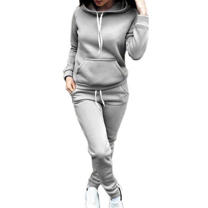 Mujer con Cordón Conjuntos De Ropa Deportiva De Otoño Invierno,Cintura Media Pantalones De Ocasionales