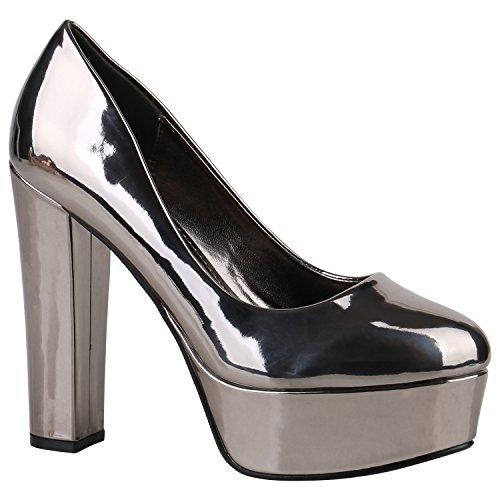 Stiefelparadies Damen Plateau Pumps Blockabsatz High Heels Veloursleder-Optik Schuhe Abendschuhe Lack Plateauschuhe Flandell Grau Metallic Lack