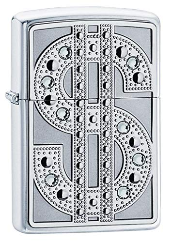 Personalized ZIPPO Emblem with Swarovski Crystals Windproof Lighter - Free Laser Engraving (20904) ()