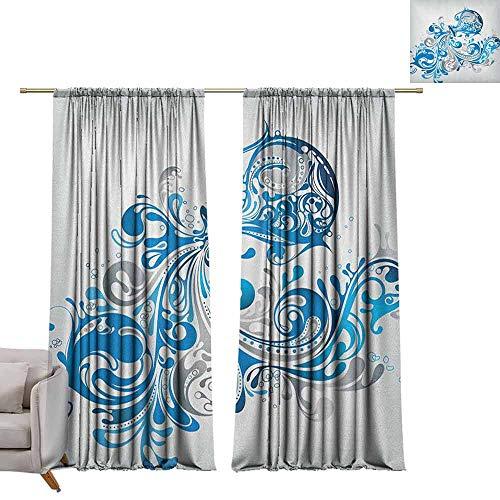 berrly Curtains Window Drapes Zodiac Aquarius,Bucket with Ornamental Swirled Lines Artistic Scroll Horoscope, Silver Grey Cobalt Blue W96 x L84 Blackout Window Curtain