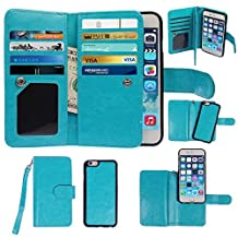 Case for iPhone 6 Plus, xhorizon Premium Leather Folio Case [Wallet Function] [Magnetic Detachable] Fashion Wristlet Lanyard Hand Strap Purse Soft Flip Book Style Multiple Card Slots Cash Compartment Pocket with Magnetic Closure Case Cover Skin ZA5 for iPhone 6 Plus (5.5'')- Blue