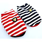 Dogloveit Cotton Navy Stripe T Shirt Summer Soft Dog Clothes For Dog Cat Puppy Pet , Black, X-Small
