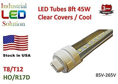 30-Pack LED 8Ft Tube Light Bulb, 6000K (Cool white), Clear cover with R17D connector ends, HO/HVA T8/T10/T12, 85V-265V AC, 45W - 4800 Lumens (75W Fluorescent equivalent)