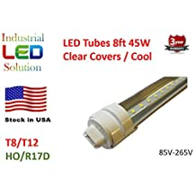 Pack of 30 ($15.15 each) LED 8Ft Tube Light Bulb, 6000K (Cool white), Clear cover with R17D connector ends, HO/HVA T8/T10/T12, 85V-265V AC, 45W - 4800 Lumens (75W Fluorescent equivalent)