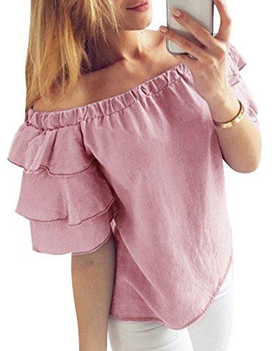 Spalla Camisetta Maniche Donna Una Estivo Basic Parola Bluse Lunghe Top Violet Causal TqEqX4