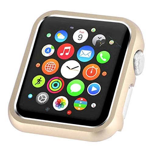 Leotop Compatible with Apple Watch Case 44mm 40mm Series 4, Metal Bumper Protective Cover Aluminum Alloy Frame Bling Shiny Shockproof Protector Shell Compatible iWatch (Matte Gold, 40mm)