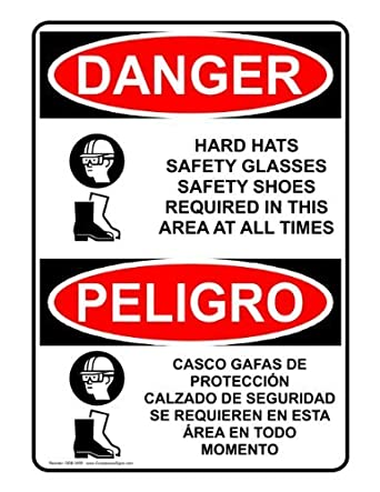 OSHA Danger Sign with PPE - Multiple Info in English + Spanish Safety Label Decal Sticker Vinyl Label 7 X 10 Inches: Amazon.com: Industrial & Scientific