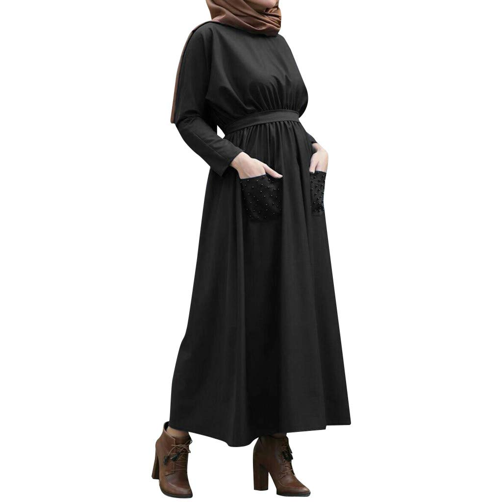 Muslim Dress Women Summer Solid Pearls Embellished Flowy Dress Casual Loose Kaftan Party Long Dresses with Pockets Black by BingYELH Muslim (Image #1)