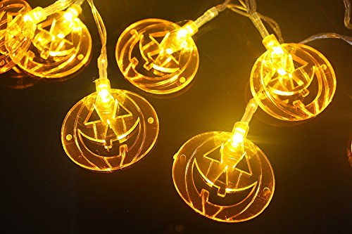 WISH HALLY WOOD solar Orange Pumpkin Halloween Decoration Lights Operated LED Fairy String Lights for Party,home (30 Orange Pumpkin) by WYHAND (Image #1)