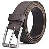 Leather Belt Men - Beyond Rear 2017 New Design Leather Belt for Men Casual Gray 35mm wide 36