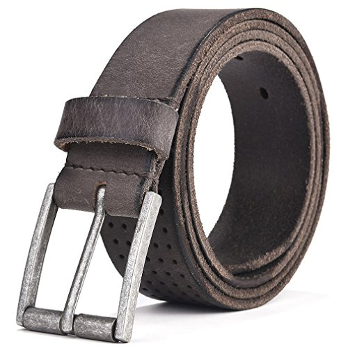 Leather Belt Men - Beyond Rear 2017 New Design Leather Belt for Men Casual Gray 35mm wide 36 by BEYOND REAR