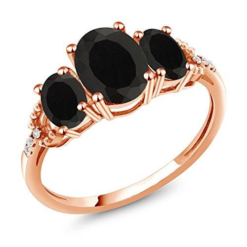 Gem Stone King 2.07 Ct Oval Black Onyx 10K Rose Gold Diamond Accent Ring (Size 7) ()
