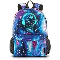 School Backpack Cool Luminous School Bag Unisex Galaxy Laptop Bag with Pencil Bag for Boys Girls Teens - Blue