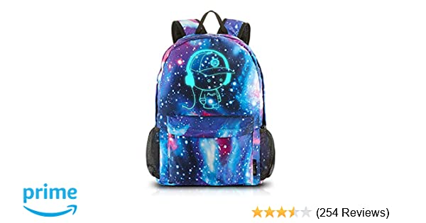 022fce613948 Amazon.com  School Backpack Cool Luminous School Bag Unisex Galaxy Laptop  Bag with Pencil Bag for Boys Girls Teens - Blue  Computers   Accessories