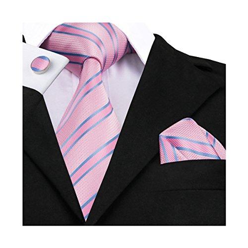 DiBanGu Stripe Tie Pink Pocket Square Silk Tie Cufflink Neck Tie Clip Set for men Business Party