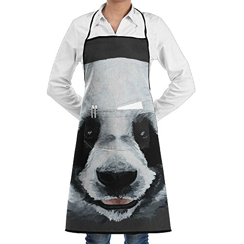 Panda Face Clip-art Apron Lace Adult Mens Womens Chef Adjustable Polyester Long Full Black Cooking Kitchen Aprons Bib With Pockets For Restaurant Baking Crafting Gardening BBQ Grill -