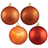 "Vickerman 4-Finish Assorted Plastic Ornament Set & Seamless Shatterproof Christmas Ball Ornaments, Assorted 4 per Box, 4.75"", Burnish Orange"