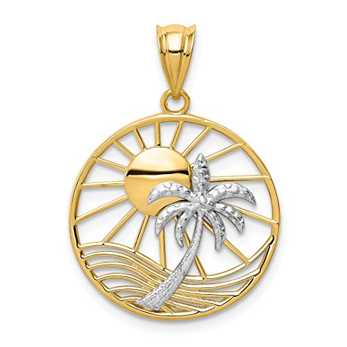 14k Two Tone Yellow Gold Sun Palm Tree Pendant Charm Necklace Sea Shore Fine Jewelry For Women Gift ()