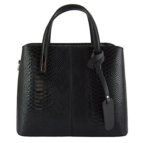 "Italian Handbag "" Vanessa"" in printed leather - 7005 Black"