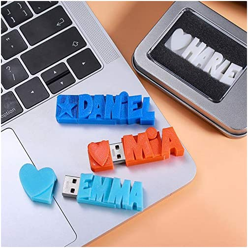 USB Flash Drive Personalized with 3D Print Name Words 16GB/32GB/64GB Customized Memory Stick |