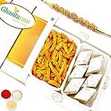 Ghasitaram Gifts Rakhi Gifts for Brother Rakhi Sweets - Kaju Katli and Chakli Hamper Om Rakhi