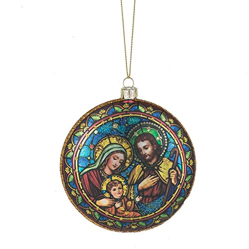Holy Family Stained Glass Look 3 x 3 Inch Blown Glass Christmas Ornament by Midwest-CBK