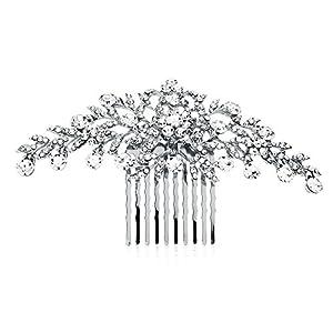 Mariell Silver Rhinestone Crystal Vine Bridal Comb, Wedding or Prom Hair Comb Accessory for Women, Brides