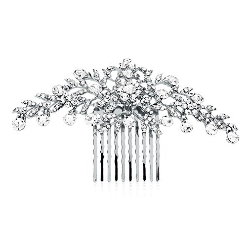 (Mariell Glistening Silver and Clear Crystal Petals Bridal, Wedding or Prom Hair Comb Accessory)