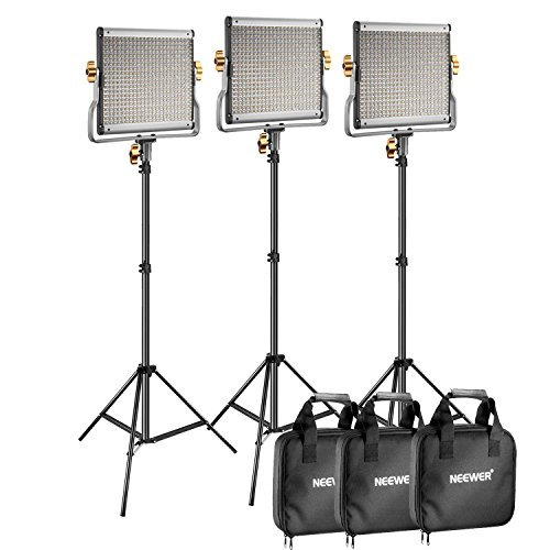 Neewer 3 Packs Dimmable Bi-Color 480 LED Video Light and Stand Lighting Kit Includes: 3200-5600K CRI 96+ LED Panel with U Bracket, 75 inches Light Stand for YouTube Studio Photography, Video Shooting (Best Led Light Kit For Interviews)