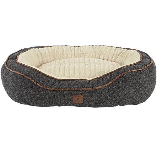 Harmony Grey Cuddler Memory Foam Dog Bed, 24″ L x 18″ W, Small, Gray/White For Sale