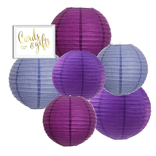 Andaz Press Hanging Paper Lantern Party Decor Trio Kit with Free Party Sign, Lavender, Plum Purple, Royal Purple, 6-Pack, For Baby Bridal Shower Decorations -