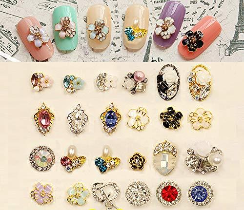 Kamas Nail art alloy diamond decoration flowers drip Revitalizing egg-shaped pendant beads nail sticker 10pcs/lot - (Color: Multi)