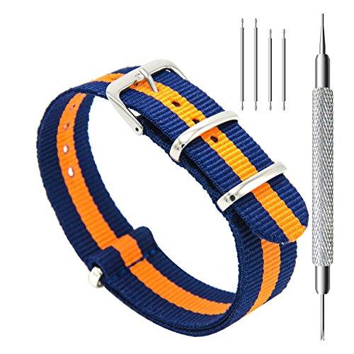 CIVO Watch Bands NATO Premium Ballistic Nylon Watch Strap Stainless Steel Buckle (Navy/Pumpkin, 18mm)