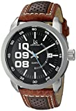 Joshua & Sons Men's JX106BR Silver Quartz Watch with Black Dial and Brown and Red Leather Strap