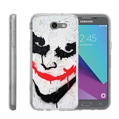 Samsung Galaxy J3 Emerge | J3 Prime | J3 Eclipse | Luna Pro[FLEX FORCE] Clear Cover Flexible SLim Fit TPU Case Cover Speciality Graphic Pattern by Miniturtle - Joker