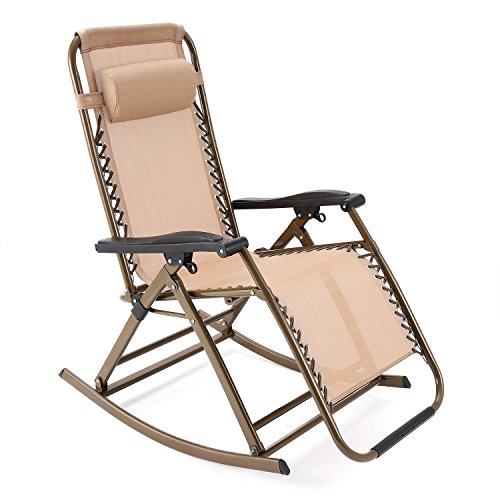 Leoneva Folding Rocking Chair Patio Porch Rocker Adjustable Reclining Chair Indoor Outdoor Sun Lounger with Pillow (Beige)