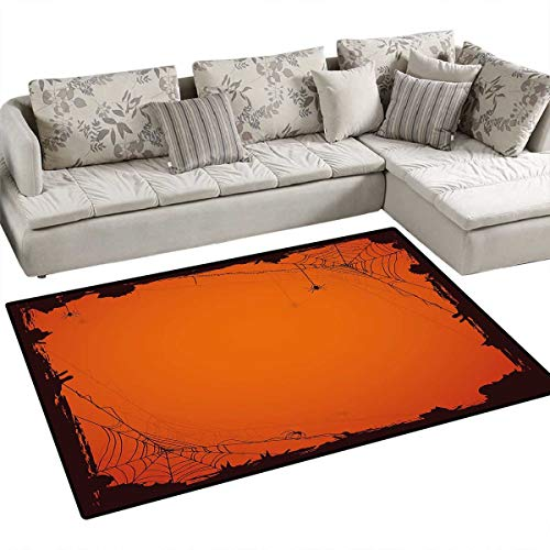 Spider Web Area Rugs for Bedroom Grunge Halloween Composition Scary Framework with Insects Abstract Cobweb Door Mats for Inside Non Slip Backing 3'x5' Orange -