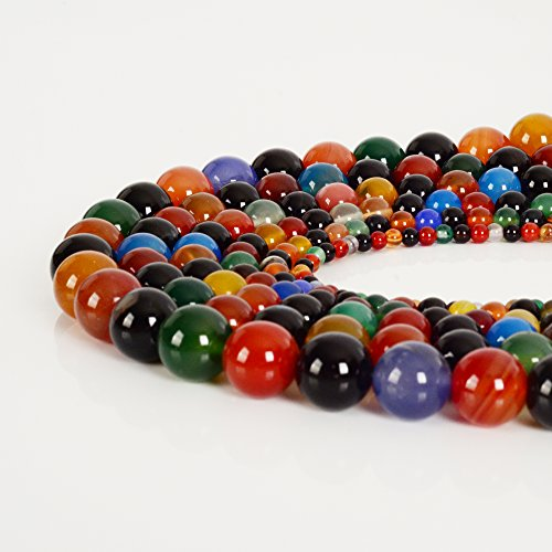 Real Natural Stone Top Quality Gemstone Round Loose Beads For Jewelry Making  8Mm  Colored Agate