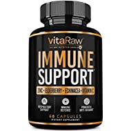 VitaRaw Immune Support Vitamins - Zinc, Elderberry, Vitamin C, Echinacea, Olive Leaf, Goldenseal | Powerful Immunity Booster Capsules For Adults | Immune System Booster Supplement For Cold and Flu Aid