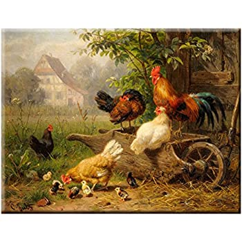 Amazon.com: ArtWorks Decor Chicken on Wheelbarrow Picture on ...