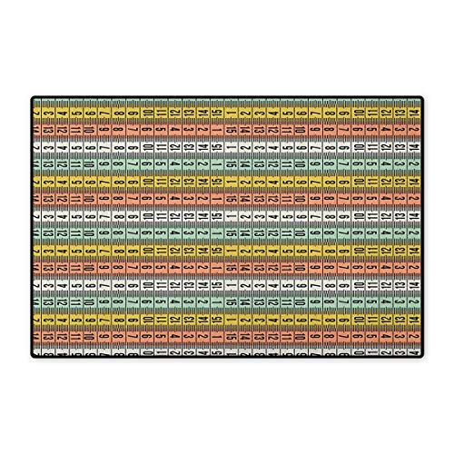 (Pastel,Door Mat Indoors,Fashion Couture Horizontal Measuring Tape Tailor Pattern Illustration with Numbers,Indoors Doorroom Mats Non Slip,Multicolor,Size,32