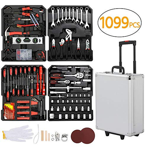go2buy Tool Box with Tools Mechanic Travel Tool Box Tool Kit Wrenches Socket Aluminum Trolley Tool Box Organizer w/ 1099 Pieces Tools by go2buy (Image #7)