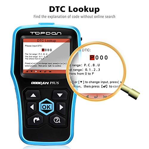 Topdon Car OBD2 Scanner, Plus Professional Car Diagnostic Scanner OBD2 Full Function with DTC Lookup and Free Update by TT TOPDON (Image #3)