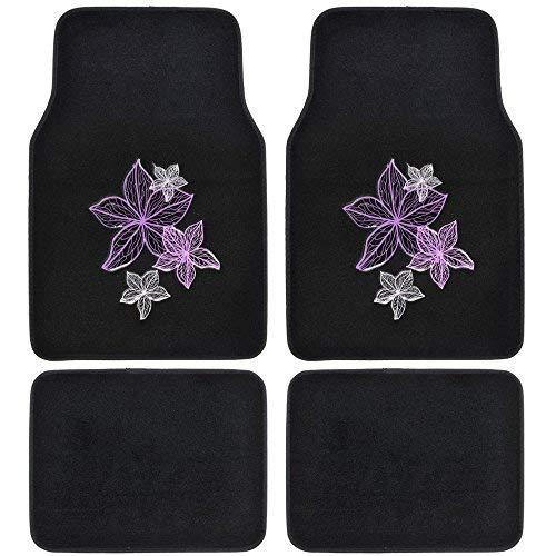 Purple Flowers Rubberized Design - BDK MT-538_AM Line Pretty Rugs - Carpet Car Floor Mats White Violet Purple Flowers Embossed - Pink on Black 4pc Set