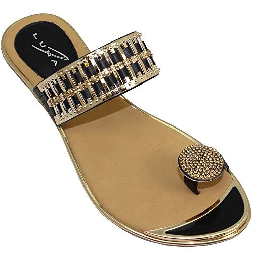 Fantasia Boutique JLH914 Elba Toe Post Gemstone Loop Gold Bar On Top Strap Slip On Sandals Black j6118EiDg