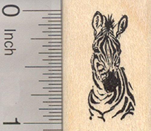 Zebra Portrait Rubber Stamp, Small