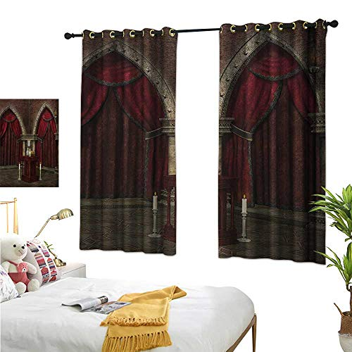 (Warm Family Linen Curtains Gothic,Mysterious Dark Room in Castle Ancient Pillars Candles Spiritual Atmosphere Pattern,Red Black 54